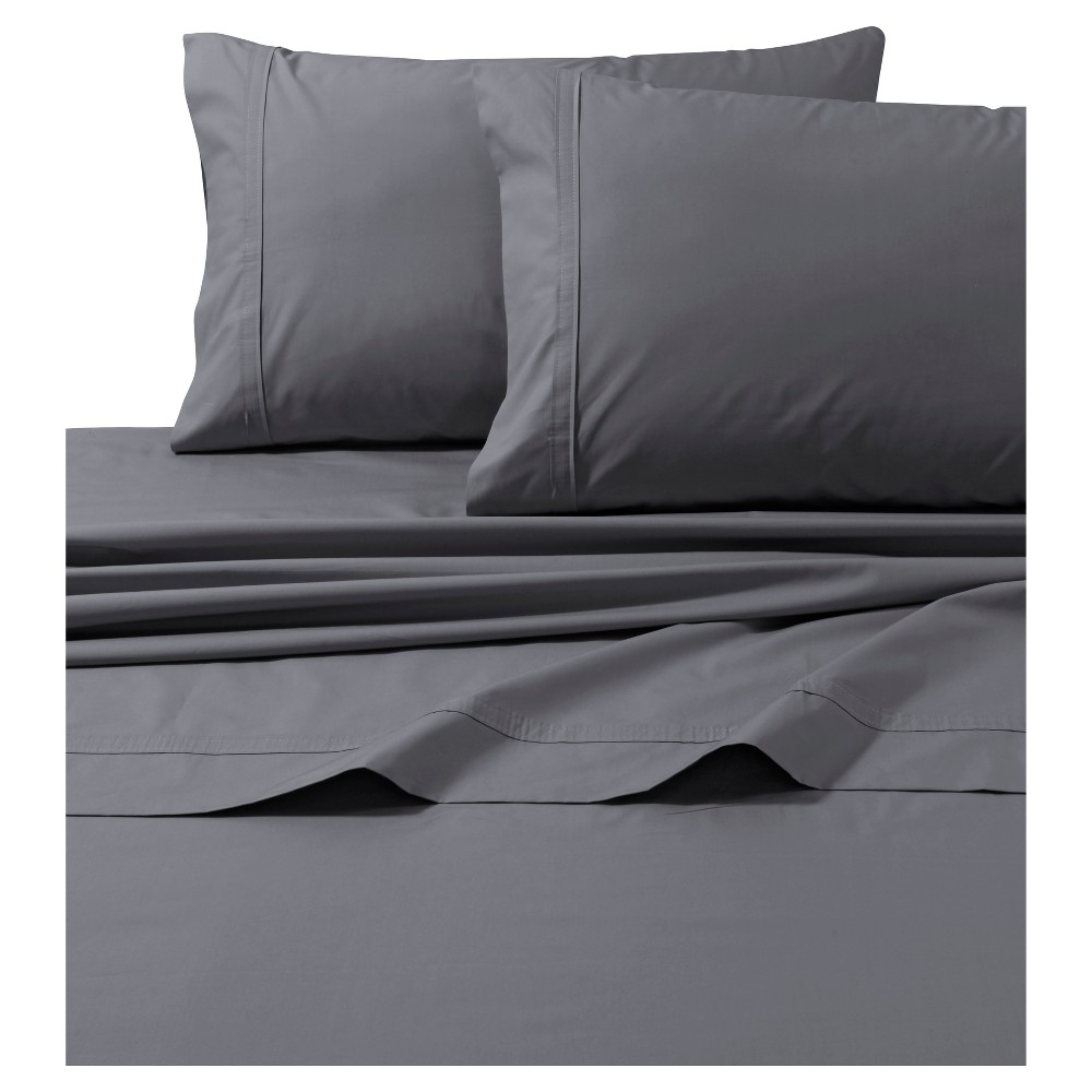 Cotton Percale Solid Sheet Set California King Gray 300 Thread Count Tribeca Living