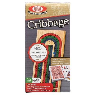Ideal Folding Wood Cribbage Board Game with Cards