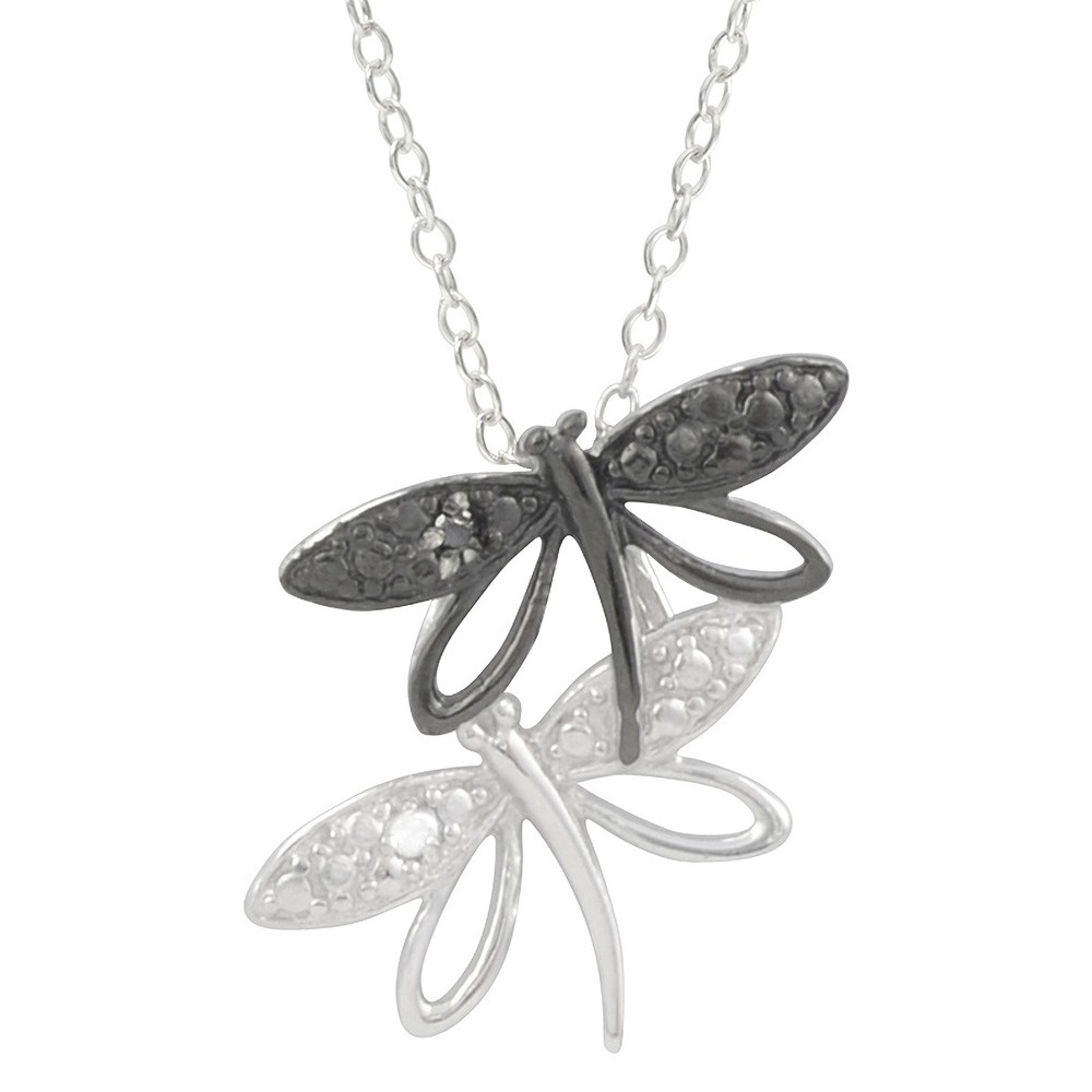 1/10 CT. T.W. Round-Cut Diamond Pave-Set Polished Dragonfly Necklace in Sterling Silver - Black, Girl's