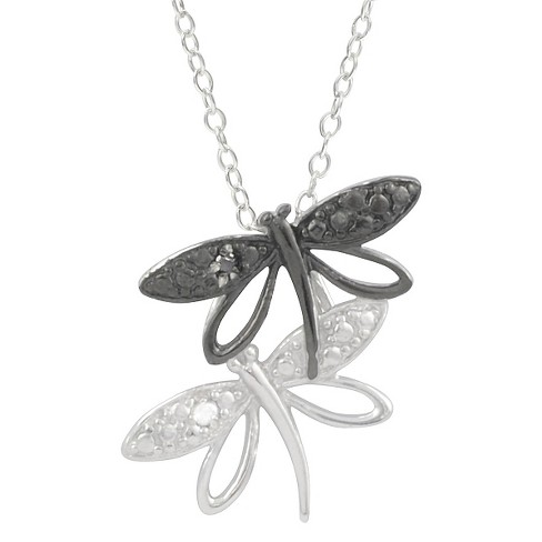 1/10 CT. T.W. Round-Cut Diamond Pave-Set Polished Dragonfly Necklace in Sterling Silver - Black - image 1 of 2