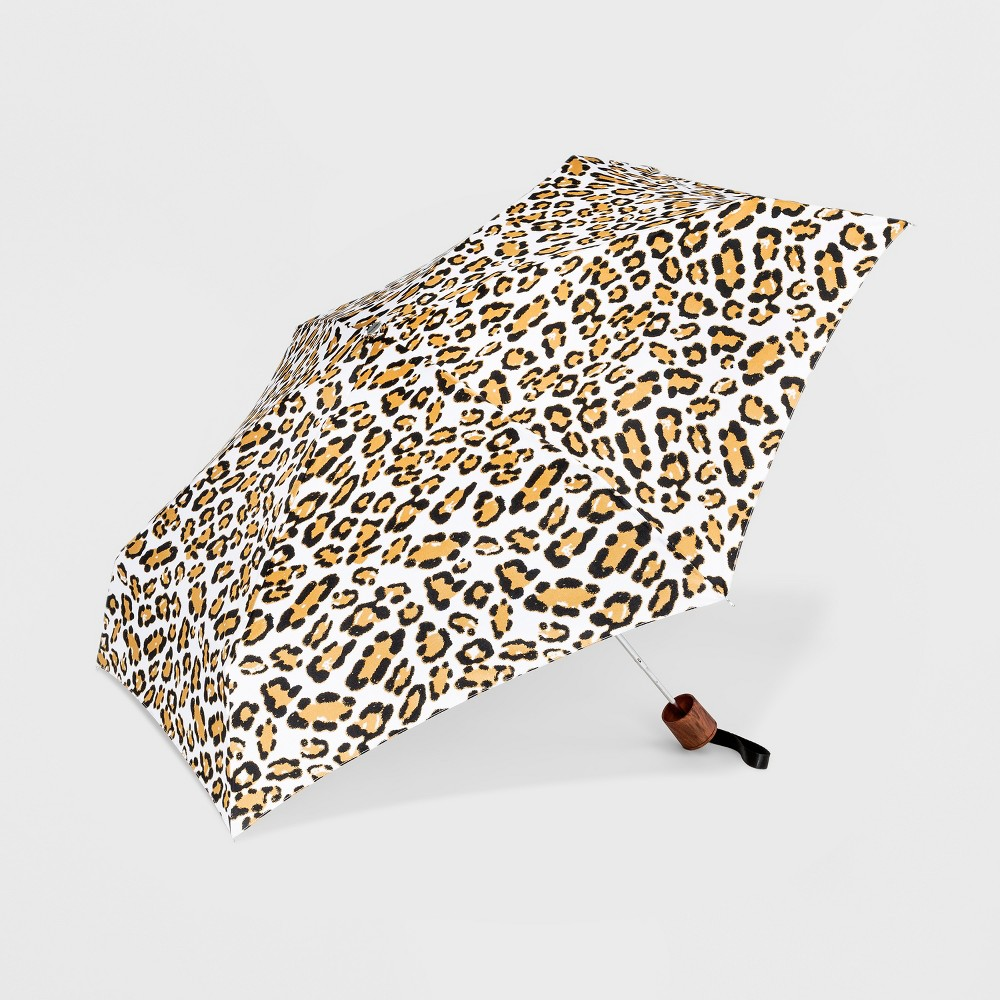 Image of Cirra by ShedRain Leopard Print Mini Manual Compact Umbrella - White, Adult Unisex