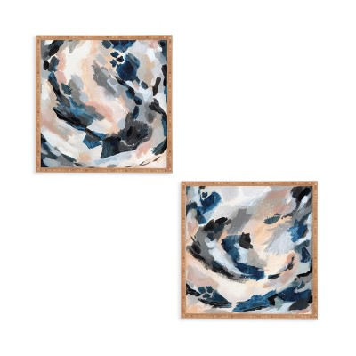 """(Set of 2)12"""" x 12"""" Abstract Framed Decorative Wall Art Blue - Deny Designs"""