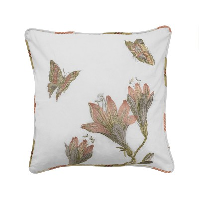 Butterfly Laurel Springs Embroidered Throw Pillow White - Waverly