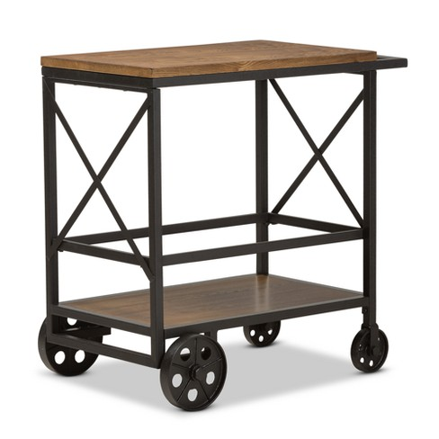 Chester Rustic Industrial Style Oak Wood and Metal Console Table Mobile Serving Cart Black - Baxton Studio - image 1 of 8