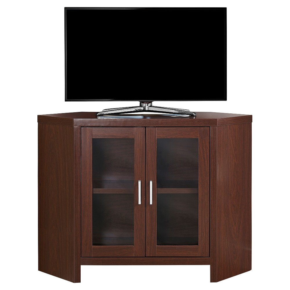 Corner TV Stand with Glass Doors - Dark Taupe - EveryRoom