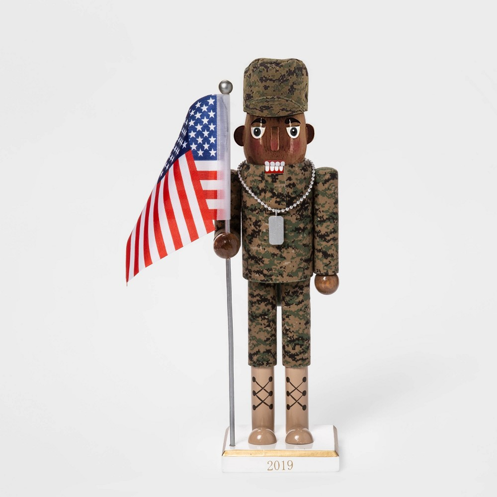 "Image of ""13.2"""" x 3.5"""" American Soldier Nutcracker with Flag - Wondershop"""