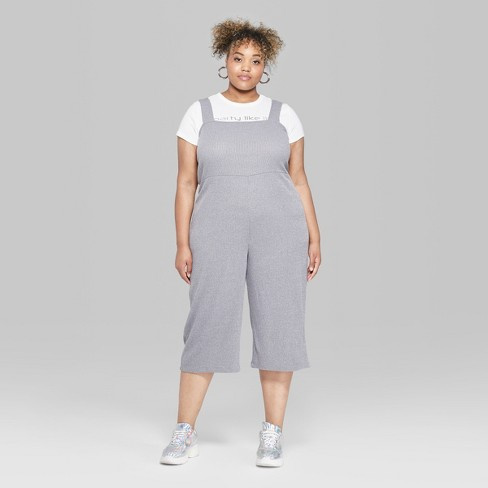 75ffae5d7a8 Women s Plus Size Strappy Square Neck Rib Knit Jumpsuit - Wild Fable™ Gray  3X   Target
