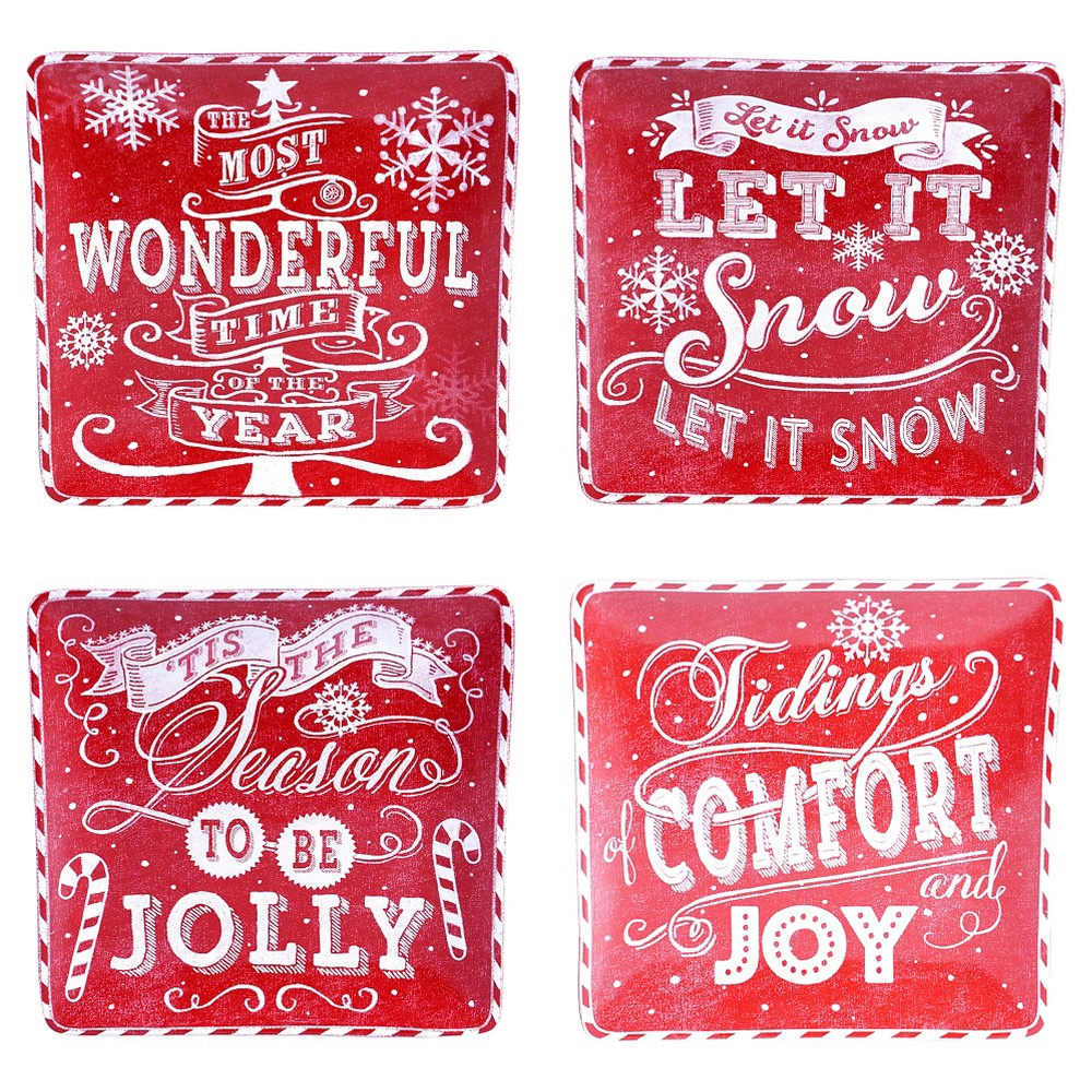Certified International Square Chalkboard Christmas Glazed Earthenware Dinner Plates (10.5) Red - Set of 4