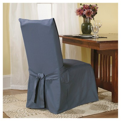 Cotton Duck Long Dining Room Chair Slipcover Blue Stone - Sure Fit, Blue Grey