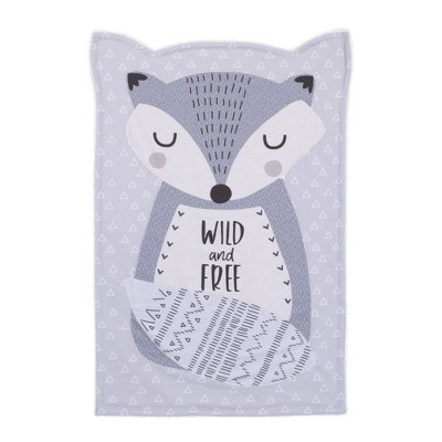 Little Love By NoJo Fritz The Fox Knit Shaped Baby Blanket Wild and Free - Gray/White