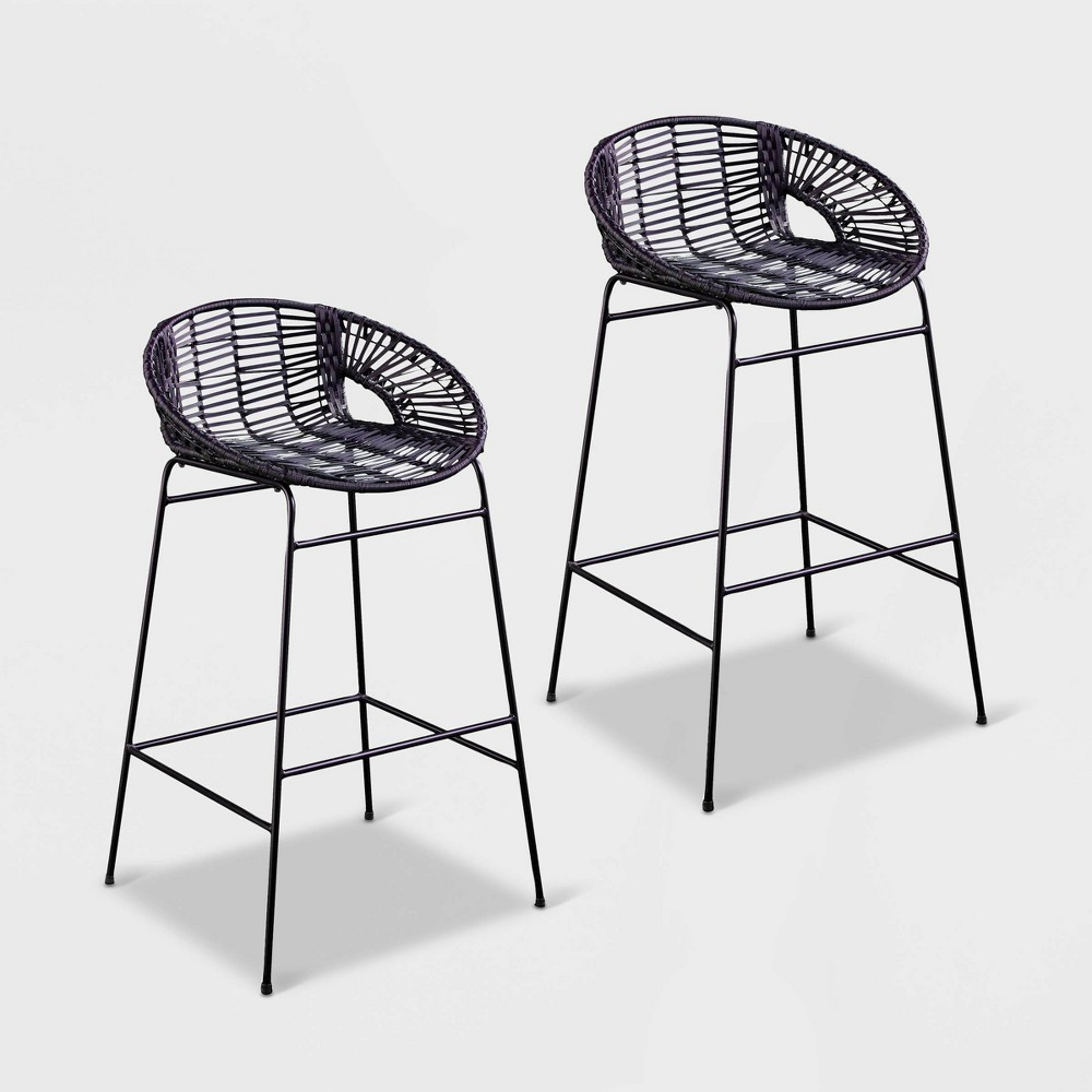 Image of Chartish 2pk All-Weather Patio Stools - Black - Aiden Lane