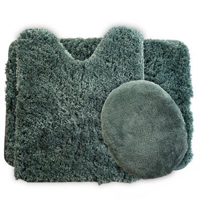 3pc Solid Super Plush Non-Slip Bath Rug Set Green - Yorkshire Home