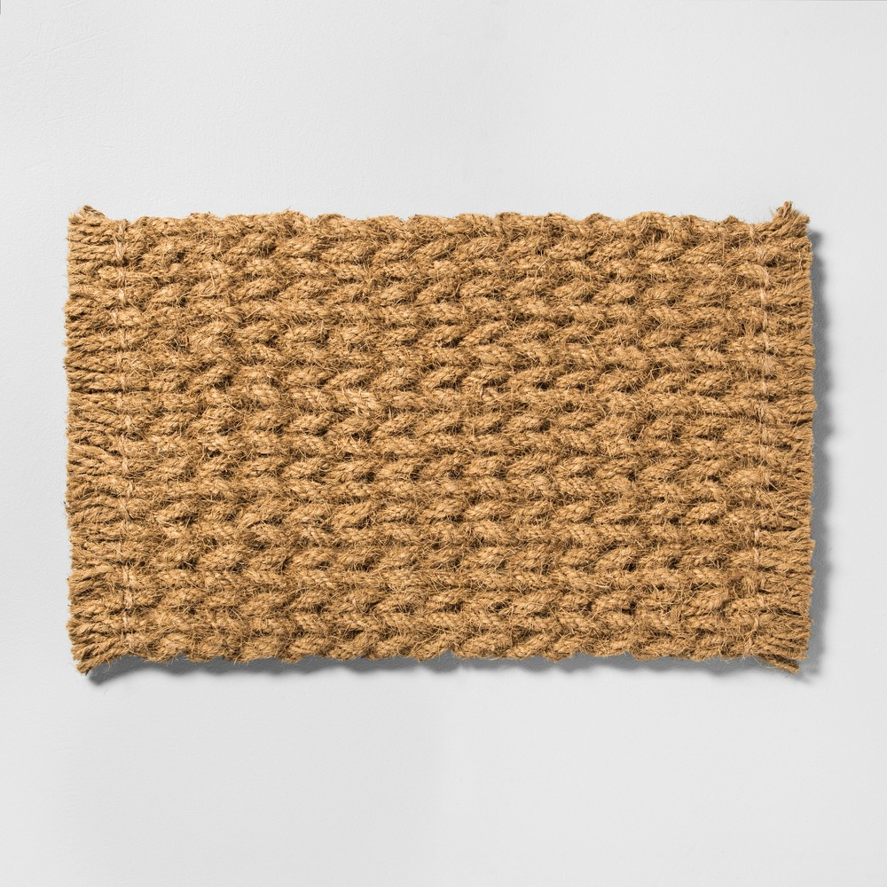 """Image of """"18"""""""" x 30"""""""" Door Mat Braided Coir - Hearth & Hand with Magnolia, Old World Beige"""""""