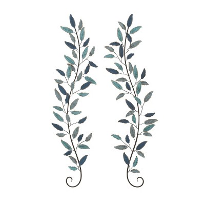 """(Set of 2) 59"""" Iron Leaf Wall Décor Natural - Olivia & May"""