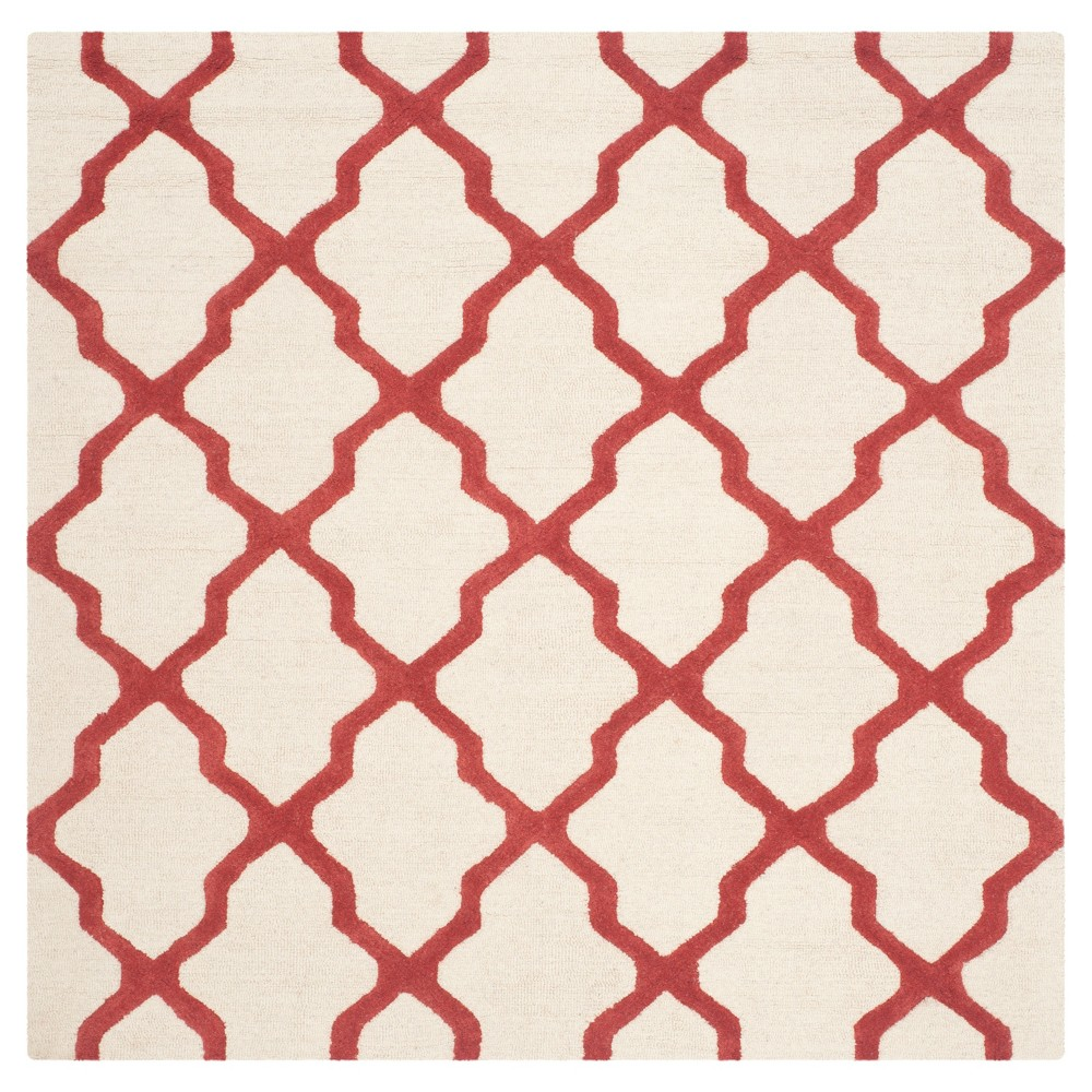 Maison Textured Rug - Ivory / Rust (6'X6') - Safavieh, Ivory/Red