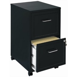 2 Drawer Mobile File Cabinet in Black-Pemberly Row