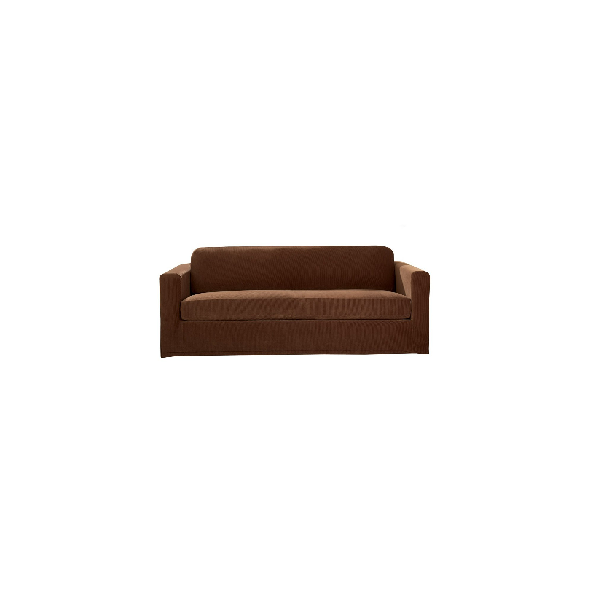 Stretch Rib 2 Piece Sofa Slipcover Oar Brown - Sure Fit