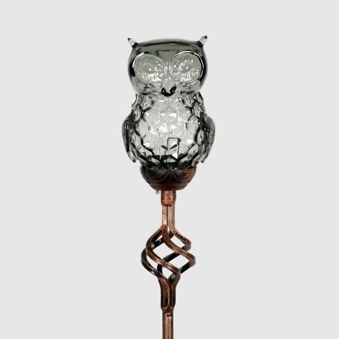 "32"" Solar Resin/Glass Owl Garden Stake Bronze - Exhart - image 1 of 2"
