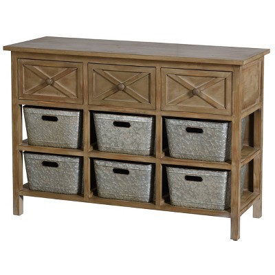 3 Drawer Wooden Side board Table with Shelves Natural - Stylecraft