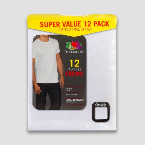Fruit of the Loom Men's 6+6 Super Value Pack Crew Neck T-Shirt Undershirt - White - image 1 of 3