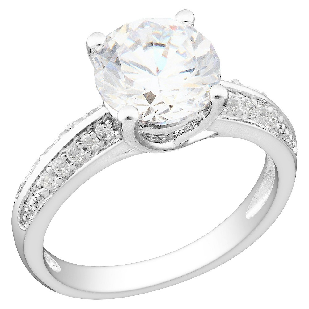 White Cubic Zirconia Silver Engagement Ring - 6 - Silver, Size: 6.0
