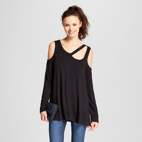 Women's Long Sleeve Asymmetrical Cutout Cold Shoulder Blouse - Alison Andrews Black - image 1 of 2
