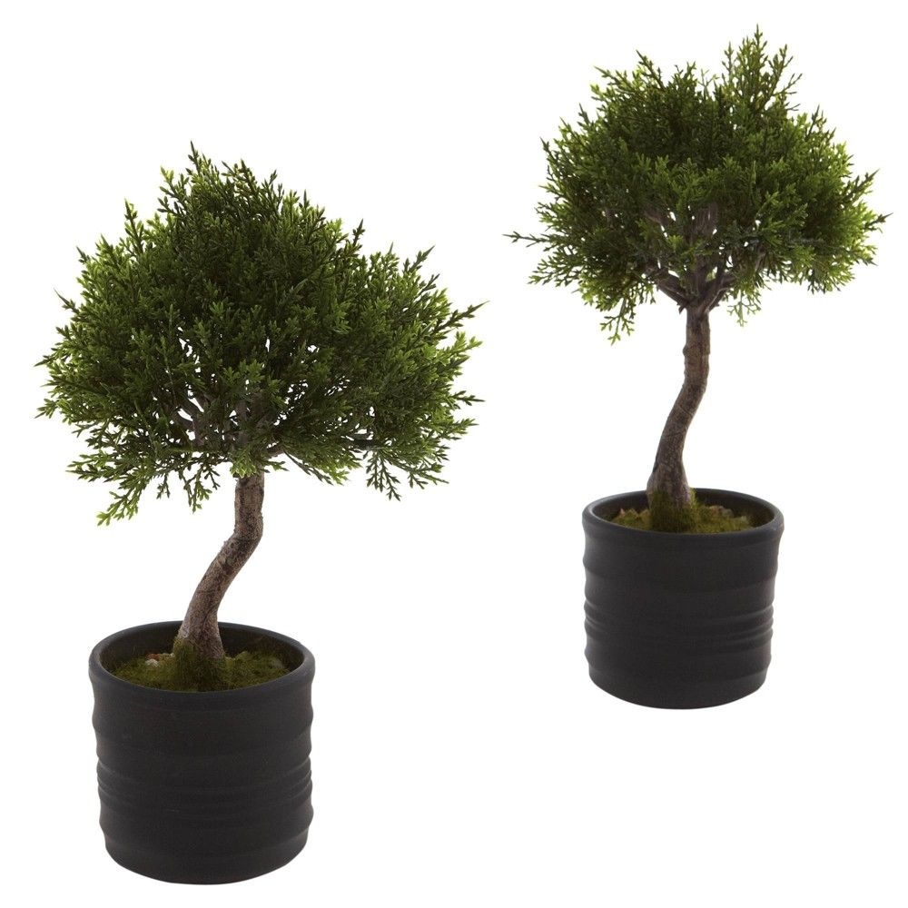 "Image of ""11.5"""" x 7"""" 2pc Artificial Cedar Bonsai with Planter Set Green - Nearly Natural"""