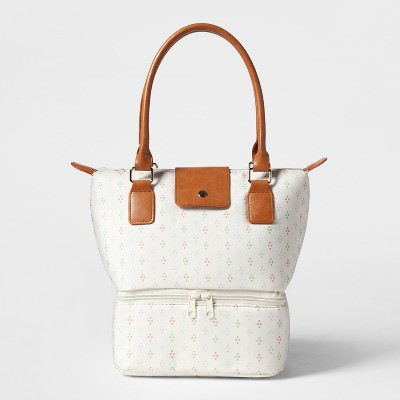 Dual Lunch Tote White Vint Global Dot Print - Threshold™