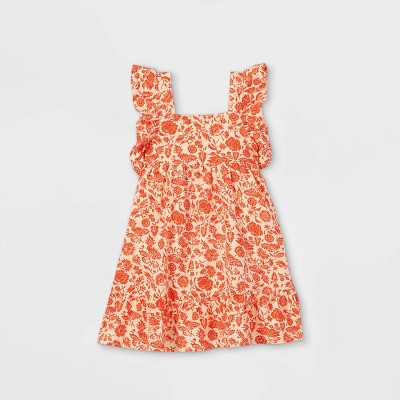 Toddler Girls' Floral Ruffle Sleeve Dress - Cat & Jack™ Red