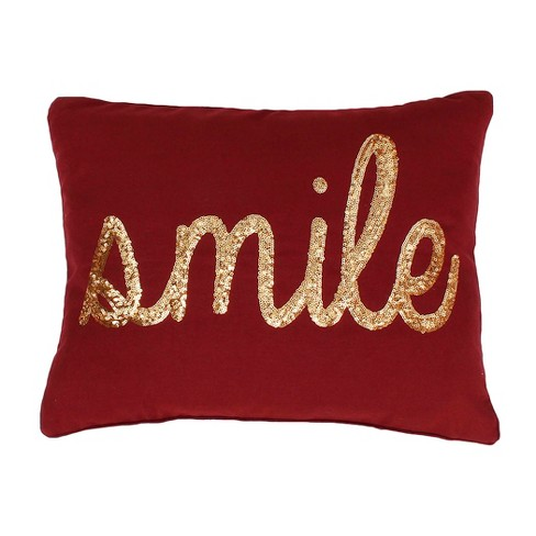 """Smile"" Sequin Oversize Lumbar Throw Pillow - Dcor Therapy - image 1 of 1"