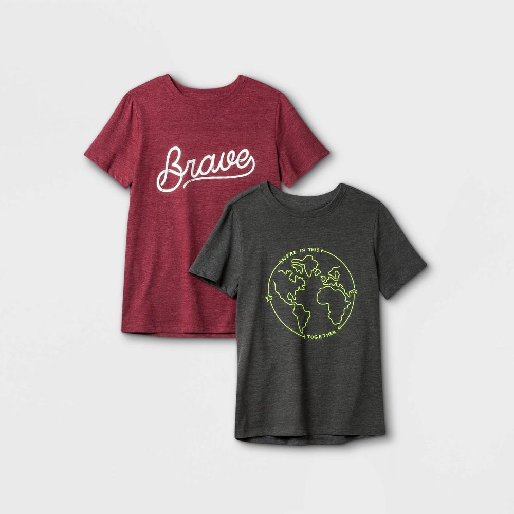 Boys 39 2pk Graphic Short Sleeve T Shirt Cat 38 Jack 8482 Gray Maroon M