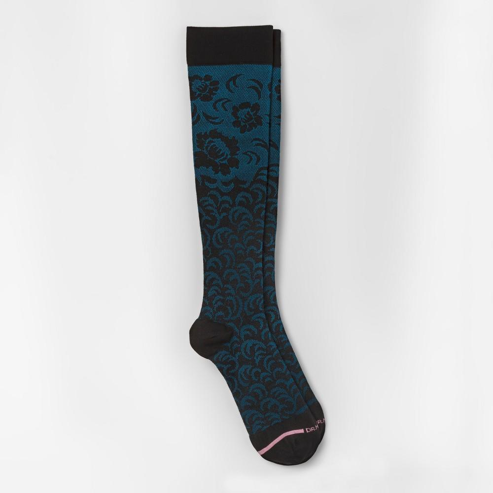 Image of Women's Dr. Motion Mild Compression Knee High Socks - Damask Floral - Black/Teal 4-10, Size: Small, Blue