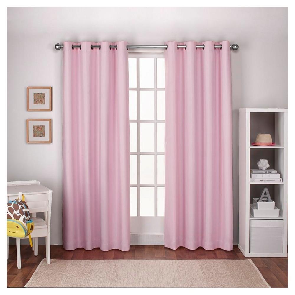 Linen Thermal Curtain Panel Set Bubble Gum (54