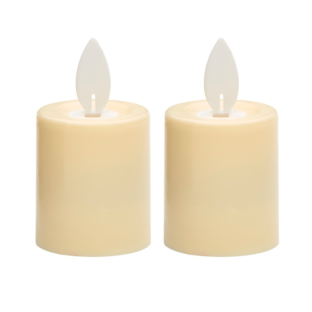 "Image of ""2.3"""" x 3"""" 2pk Unscented LED Moving Flame Votive Candle Set Cream - Threshold"""