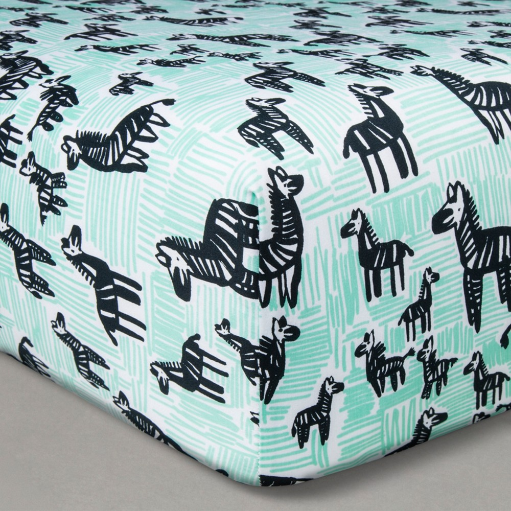 Image of Oh Joy! Woven Fitted Sheets - Zebra - Black/Mint, Green