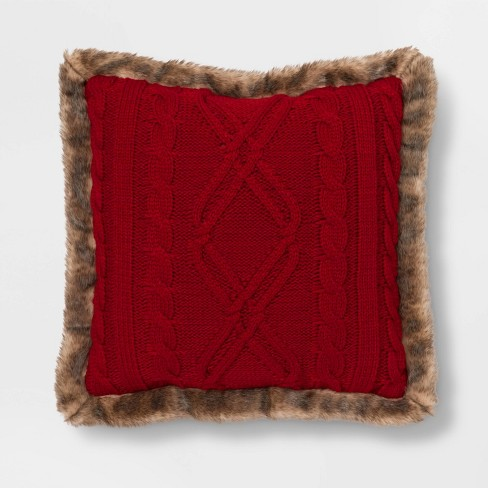 Acrylic Cable Knit Throw Pillow with Faux Mink Reverse and Faux Fur Trim - Threshold™ - image 1 of 4