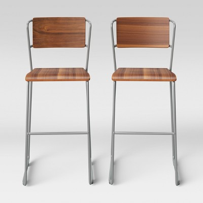 Set of 2 Killiam Mixed Material Sled Barstool Wood and Metal Silver - Project 62™
