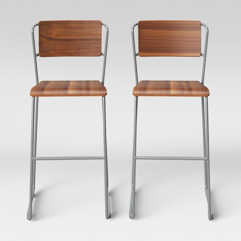 Set of 2 Killiam Mixed Material Sled Barstool Wood and Metal Silver - Project 62™ - image 1 of 5