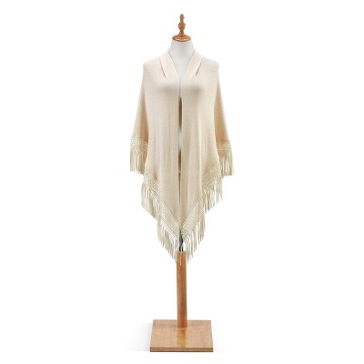 DEMDACO Triangle Knit Scarf with Fringe - Ivory White