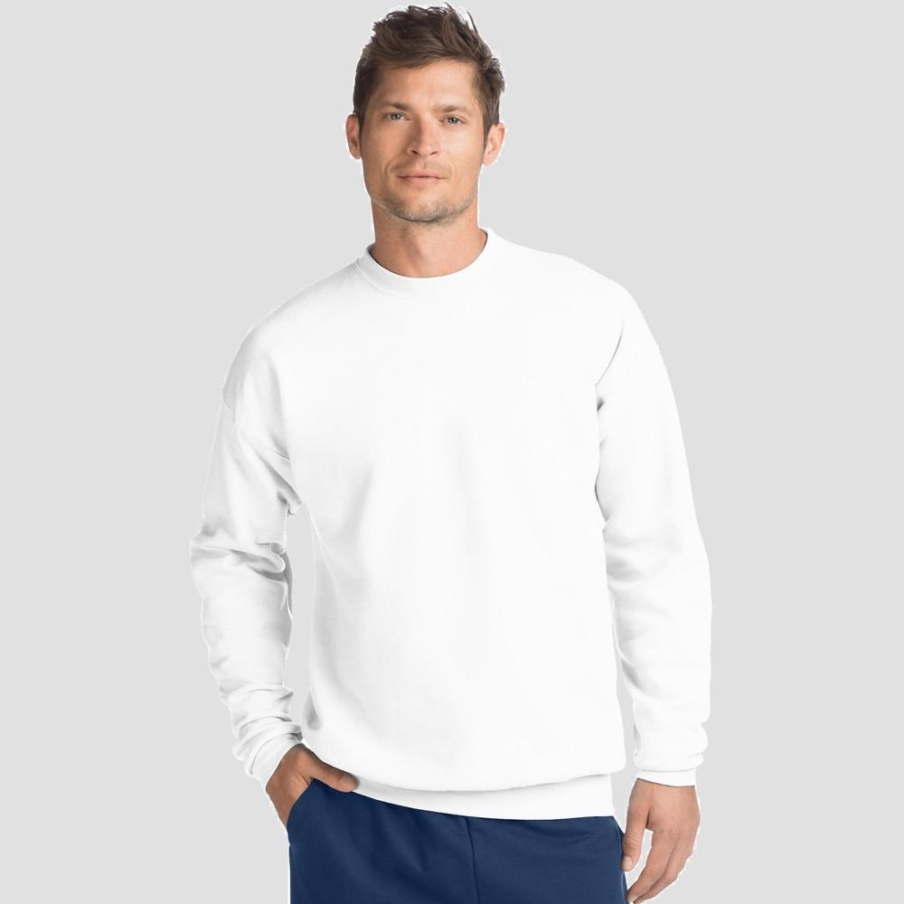 Hanes Men's EcoSmart Fleece Crew Neck Sweatshirt - White XL