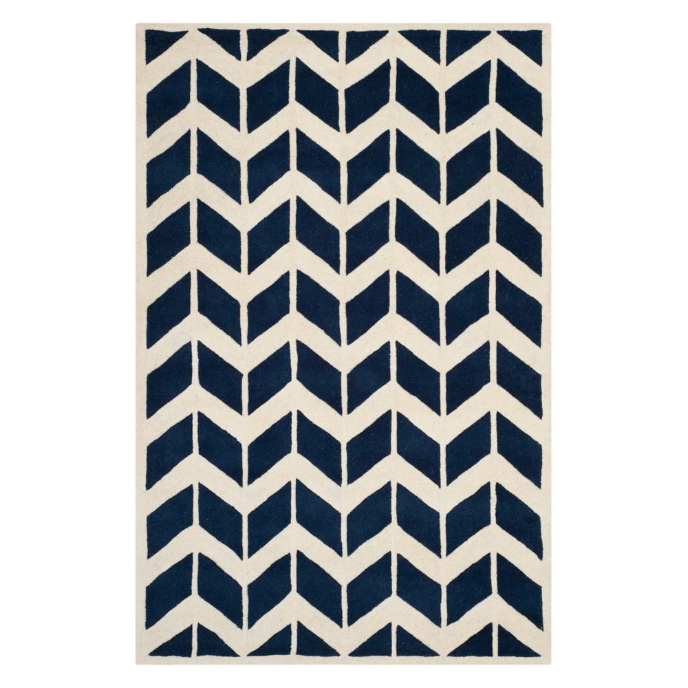 6'X9' Chevron Area Rug Dark Blue/Ivory - Safavieh
