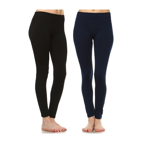Women's Pack of 2 Solid Leggings - One Size Fits Most - White Mark - image 1 of 1