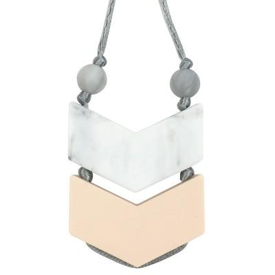 Itzy Ritzy Double Chevron Teething Pendant - Marble
