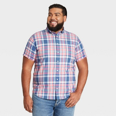 Men's Big & Tall Standard Fit Stretch Poplin Short Sleeve Button-Down Shirt - Goodfellow & Co™