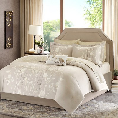 TaupeHolly Comforter Set Taupe Queen 9pc