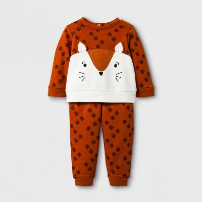 Baby Boys' 2pc Fox Sweatshirt and Joggers Set - Cat & Jack™ Brown Newborn