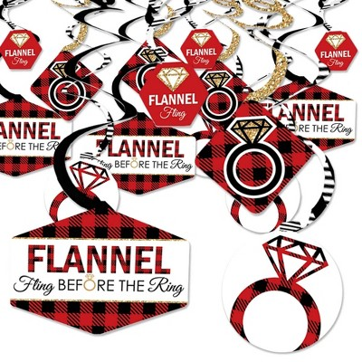 Big Dot of Happiness Flannel Fling Before the Ring - Buffalo Plaid Bachelorette Party Hanging Decor - Party Decoration Swirls - Set of 40