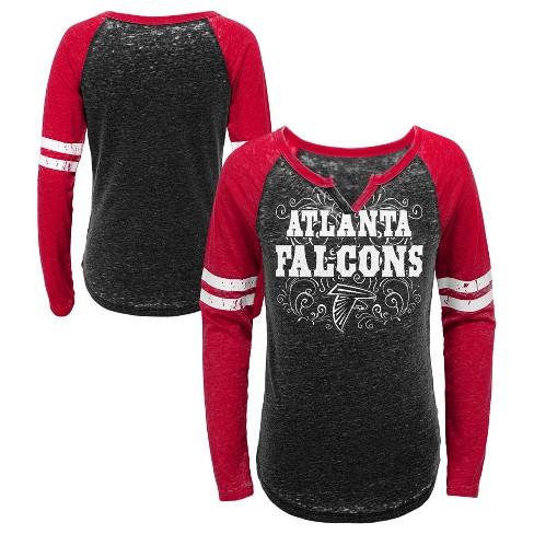 NFL Atlanta Falcons Girls  Fashion Team Alt Color Burnout Long Sleeve T- Shirt 6efe18debae4
