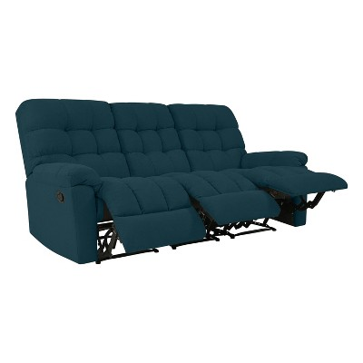 Alma 3 Seat Tufted Wall Hugger Recliner Sofa Plush Low Pile Velour Peacock Blue - ProLounger
