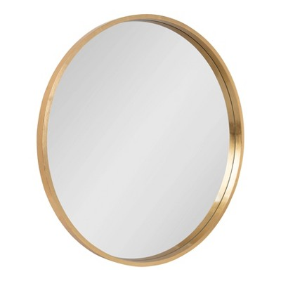 "32"" Travis Round Wall decorative Mirror Gold - Kate & Laurel All Things Decor"